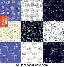 sätta, school., mönster, seamless, topic, utbildning