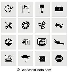 sätta, service, ikonen, bil, vektor, svart