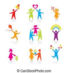 sätta, silhuett, folk, unge, man, ikonen, -, symbol., pojke, kvinna, flicka, föräldrar, fader, vector., family., mor, barn