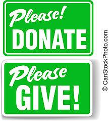 sätta, skänka, behaga, underteckna, grön, donera