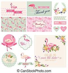sätta, skur, -, dekoration, vektor, bröllop, flamingo, parti, brud