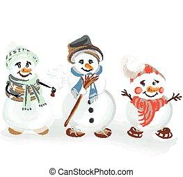 sätta, snowmen, jul