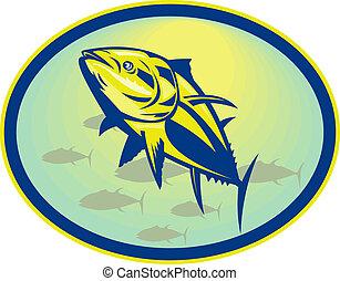 sätta, synvinkel, insida, bluefin, låg, tonfisk, betraktat, oval.