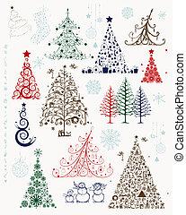 sätta, träd, jul, design, utsmyckningar, din