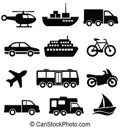 sätta, transport, ikon