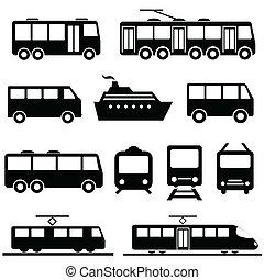 sätta, transport, publik, ikon