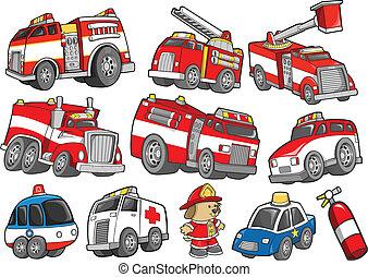 sätta, transport, rädda fordon