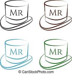 sätta, vektor, hattar