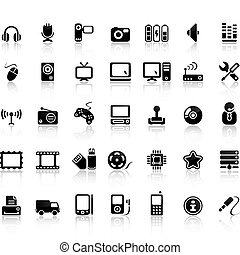 sätta, video, ikon, audio