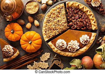 sönderdelas, pumpa, äpple, pekannöt, traditionell, falla, tårtor