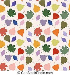 söt, bladen, seamless, lysande, mönster
