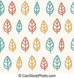 söt, bladen, seamless, mönster