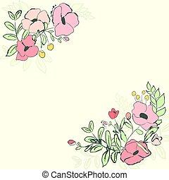 söt, blomma, bouquet., illustration, vektor, kort