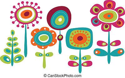 söt, blomningen, färgrik