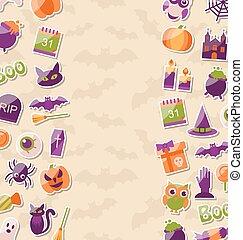 söt, färgrik, ikonen, halloween, lägenhet, bakgrund, parti