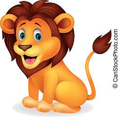 söt, lejon, tecknad film