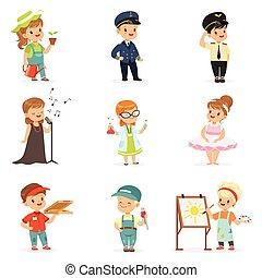 söt, litet, lurar, färgrik, pojkar, professionsen, flickor, likformig, utrustning, vektor, olika, illustrationer, professionell, le, set.