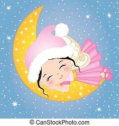 söt, litet, måne, vektor, fe, sova, jul