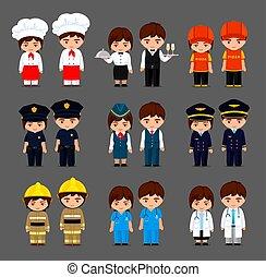 söt, litet, sätta, professionsen, flickor, olik, tecknad film, pojkar, olika, style., uniform.