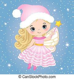 söt, litet, trollspö, flygning, vektor, fe, jul