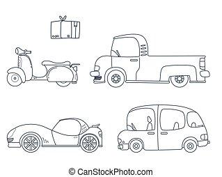 söt, sätta, lurar, bil, illustration, kolorit, sida