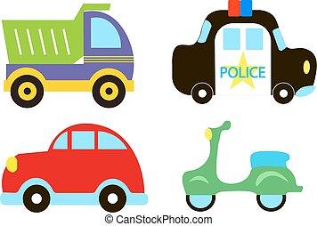 söt, sätta, transport, bil, färgrik, årgång, isolerat, polis, tema, vektor, bil., bakgrund, lastbil, vit, moped, ikon