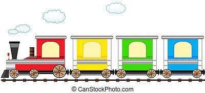 söt, tåg, skena, tecknad film, färgrik