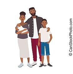 söt, tonårig, son, nyfödd, tillsammans., stående, family., isolerat, bakgrund., holdingen, vit, lycklig, lägenhet, färgrik, afrikansk, fader, tecken, barn, tecknad film, illustration., amerikan, vektor, mor