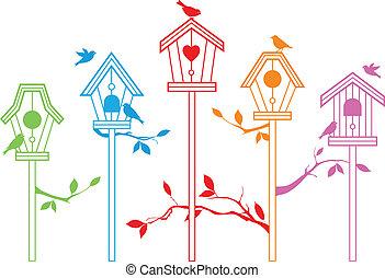 söt, vektor, fågel, hus