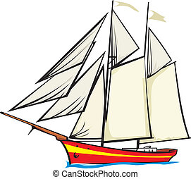 sailer, fyllda, -, segel, under