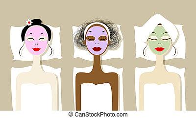 salon, maskera, kosmetisk, nätt, vettar, kurort, kvinnor