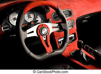 sammet, stämd, bil., lyxvara, inre, sport, röd