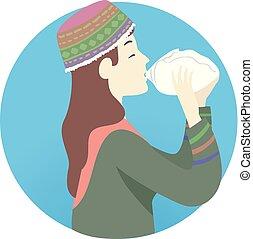schaman, ceremoni, flicka, ayahuasca, illustration