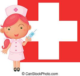 schweiz, främre del, flagga, injektion, sköta