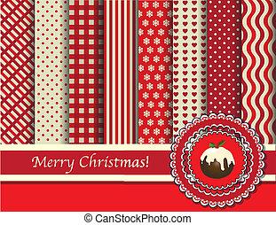 scrapbooking, jul, röd, grädde