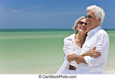 se, par, tropisk, hav, senior, strand, lycklig