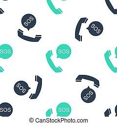 seamless, alarm., ikon, sos, nödläge, vit, mönster, isolerat, vektor, ringa, bakgrund., grön, 911, varning, hjälp