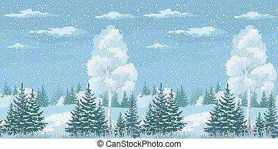 seamless, jul, vinter landskap, skog