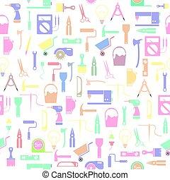 seamless, mönster, bakgrund, verktyg, diy, icon.