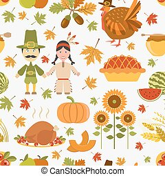 seamless, mönster, tacksägelse, dag