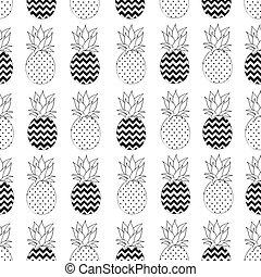 seamless, mönster, vektor, ananas