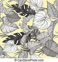 seamless, plants., illustration, tropisk, vektor, mönster