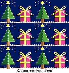 seamless, träd, mönster, gåvor