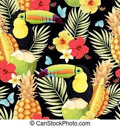 seamless, vektor, frukter, mönster, tukan
