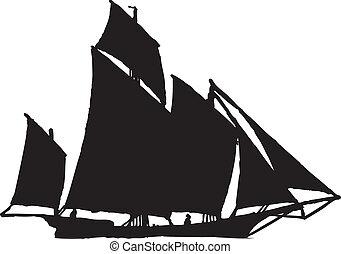 segel, silhuett, båt
