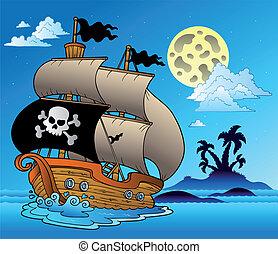 segelbåt, silhuett, sjörövare, ö