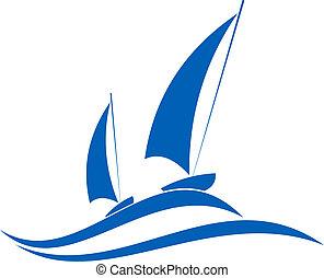 segla, eller, segling, emblem