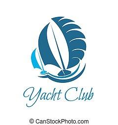 segla, segling, klubba, symbol, yacht, sport