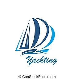 segling, klubba, resa, yacht, vektor, sport, eller, ikon