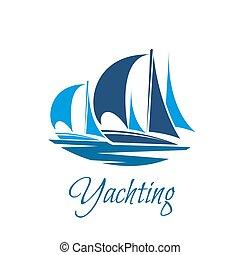 segling, klubba, segelbåt, yacht, vektor, eller, ikon
